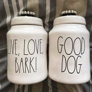 2 NWT- Large Good Dog & Live, Love, Bark Canisters